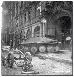 German tank destroyer Jagdpanzer 38(t), Hetzer lies abandoned in Prague. May 1945.