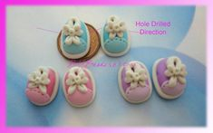 SALE Shoe Polymer Clay Charm Bead Scrapbooking Embelishment Bow Center Pendant Cupcake Topper
