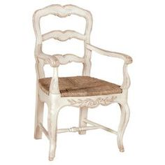 """Handmade ladder-back armchair in antiqued white with a woven seat and cabriole front legs.  Product: ChairConstruction Material: MDFColor: Antique whiteFeatures: Handmade in VietnamDimensions: 39"""" H x 22.8"""" W x 19.3"""" D"""