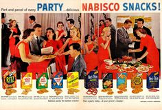 It's a Red Nabisco Party! Retro Advertising, Vintage Advertisements, Vintage Ads, Retro Ads, Vintage Magazines, Retro Recipes, Vintage Recipes, Salty Snacks, Yummy Snacks