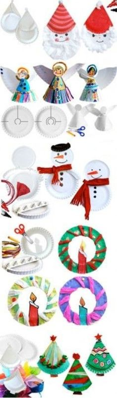PAPER PLATE Ideas for Christmas crafts for kids. Children can make a snow man, a wreath, or an angel out of paper plates Christmas Arts And Crafts, Preschool Christmas, Christmas Activities, Christmas Projects, Kids Christmas, Holiday Crafts, Christmas Paper, Winter Activities, Paper Plate Art