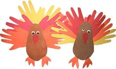 Kids hand and feet prints make turkeys. Thanksgiving art project K-2