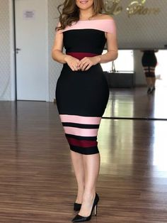 Summer Women Fashion Elegant Casual Long Party Dress Female Vintage Contrast Striped Off Shoulder Sheath Midi Dress Midi Dress Sale, Sequin Midi Dress, Buy Dress, Bodycon Dress, Midi Dresses, Floral Dresses, Casual Elegant Style, Bohemia Dress, Trend Fashion