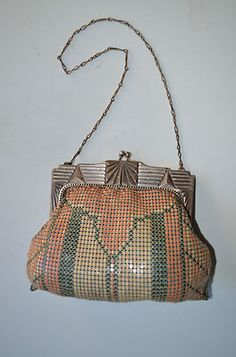 Antique Art Deco Whiting Davis Enameled Mesh Bag Silver Purse Dresden Flapper | eBay