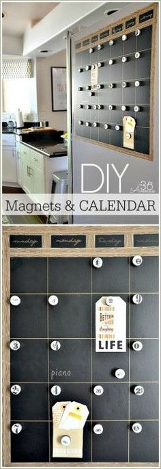 The 36th AVENUE | DIY Chalkboard Magnetic Calendar. This is a great way to keep your family organized during the first few weeks of school. Love the clean and crisp look of it.