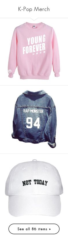 """K-Pop Merch"" by jaypark-aomg ❤ liked on Polyvore featuring tops, bts, outerwear, jackets, denim sports jacket, blue denim jacket, sports jacket, blue sports jacket, long sleeve denim jacket and accessories"