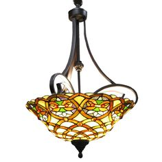 This Aimee Tiffany-Style chandelier from Warehouse of Tiffany's can illuminate a room with it's very colorful and vibrant shades. It contains hand-cut pieces of stained glass, each wrapped in fine copper foil.