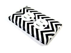 Black and White Chevron light switch cover