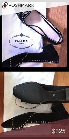 """Black Suede Prada 2"""" Pumps w Beading Black Suede  A bold buckle detail at the toe; block heel.  2 1/4"""" (55mm) heel (size 37.5EU).  Leather upper, lining and sole.  By Prada; made in Italy.  Salon Shoes.  Retails 795.  Like new Prada Shoes Heels"""