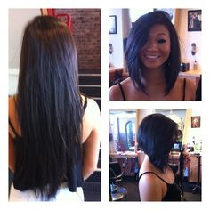 A very drastic inverted bob by Alina!! All hair was donated to wigs for kids! #wigsforkids #depasquale #kmscalifornia #sparkshairdesign @Alina Akopyan www.sparkshairdesign.com www.facebook.com/sparkshairdesign