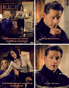 """I prefer earl grey..."" Lol charming sass! OUAT"