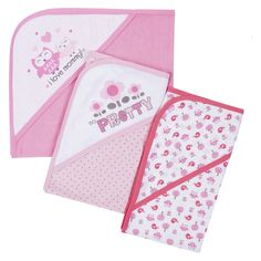 Gerber� Newborn Girls' 3 Pack Hooded Towel Set - Pink