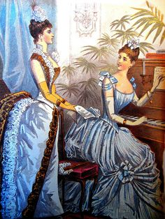 Though Victorian girls were taught to be demure, volumes of fabric used for each dress meant that they were conspicuous too! Victorian fashion was restraining, but also gave women a means to show a sexuality (i.e. an attractive appearance) in acceptable ways!