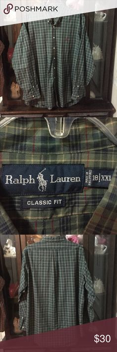 Men's Polo Ralph Lauren Green Dress Shirt Size 2XL This item is in great shape! Armpit to armpit is 29. Armpit to sleeve is 23. Back of collar to bottom is 36. Polo by Ralph Lauren Shirts Dress Shirts