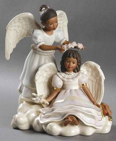 Sandra Kuck Figurines Angel's Touch - Boxed by Lenox African American Figurines, African American Art, African Art, African Dolls, Statues, Angels Touch, Entertaining Angels, Black Art Pictures, Angel Pictures