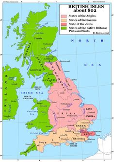 Britain c. 802 was divided among competing groups, with most of England controlled by the Germanic Angles, Saxons & Jutes and Scotland divided between the Picts (the kingdom of Fortriu) & the Gaels (the kingdom of Dalriada) from Ireland who together combined to form the basis of the Scottish nation. 'Britons' here means the Celtic peoples -- including the Welsh in Wales & the Cornish in Cornwall (here labeled 'West Wales') -- pushed out of England by the Germanic tribes.