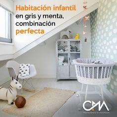 Habitación infantil en gris y menta, una combinación perfecta  http://www.decoandkids.com/blog/?p=1188  #protegiendosuinversion #CMA