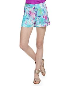 Dalton Monet-Print Silk Shorts at CUSP. charmeuse, banded waist with belt loops back seam pockets, relaxed fit, hook and eye /zip closure  Love that fabric in that style