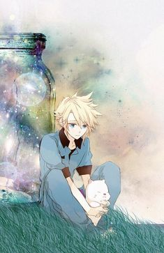 Blonde anime boy sitting in front of the bottle