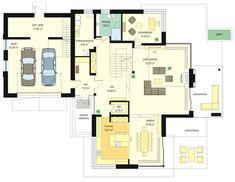 Rzut parteru budynku według projektu Dom z widokiem 4 House Floor Plans, Flooring, How To Plan, Behance, Calypso, Design, March, Houses, Ideas