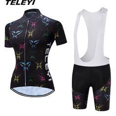 cbccbf5df 2017 TELEYI Black MTB Bike Jersey bib shorts sets Ropa Ciclismo maillot  Women Cycling Clothing Girl