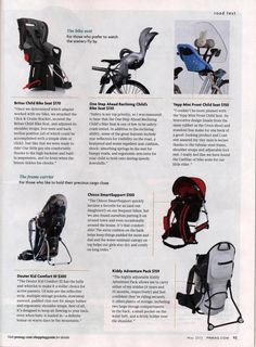 """Pregnancy & Newborn's May 2013 """"Road Trip"""" article highlights our exclusive Child's Reclining Bike Seat.  """"Safety is my top priority, so I was reassured to hear that the One Step Ahead Reclining Child's Bike Seat is one of the few to be safety-crash tested…"""""""