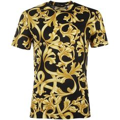 Versace Short Sleeve T-Shirts ($400) ❤ liked on Polyvore featuring men's fashion, men's clothing, men's shirts, men's t-shirts, gold, mens short sleeve t shirts, versace mens t shirts, mens gold shirt, versace mens shirts and mens short sleeve shirts