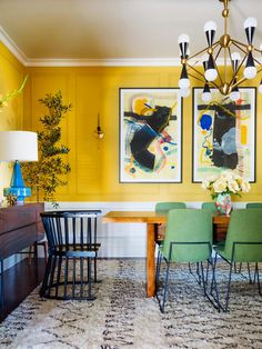 Plancolorss Idea for Dining Room Walls 18 Best Dining Room Paint Colors Modern Color Schemes for Yellow Dining Room, Dining Room Paint Colors, Dining Room Walls, Dining Room Design, Wall Colors, Dining Chairs, Yellow Walls Living Room, Pink Walls, Dining Table