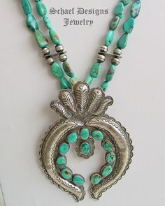 Royston turquoise nugget squash blossom naja long necklace | online upscale native american jewelry boutique gallery| Schaef Designs Southwestern turquoise Jewelry |  New Mexico