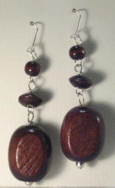 Beautiful hand-made Bohemian wooden drop earrings
