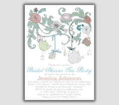 Whimsical Bridal Shower Tea Party Invitation