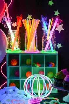 Glow-in-the-dark fun...glow-in-the-dark mason jars w/glow sticks...