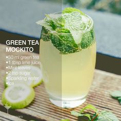 Green tea is full of antioxidants, nutrients & tastes great hot or cold. GREEN TEA MOCKITO | • 1 Litre Sparkling water • 50ml brewed and cooled green tea • 1 tbsp lime juice • 5 large mint leaves • 2 tsp sugar • Ice. Muddle the lime juice, mint & sugar together in a tall glass until leaves bruise slightly & flavours release. Add ice until glass is about 3/4 full & pour in green tea. Top with sparkling water and garnish with mint. Stir thoroughly and enjoy!