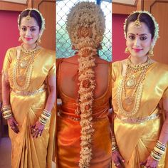 South Indian bride. Diamond Indian bridal jewelry.Temple jewelry. Jhumkis.Gold silk kanchipuram sari.Braid with fresh flowers. Tamil bride. Telugu bride. Kannada bride. Hindu bride. Malayalee bride.Kerala bride.South Indian wedding.