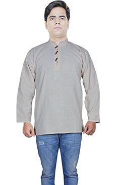 e89fcf45 Amazon.com: Clothing Fashion Shirt - Mens Cotton Short Kurta - India Dresses  -Size XL: Clothing