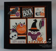"""Laura Milligan, Stampin' Up! Demonstrator - I'd Rather """"Bee"""" Stampin!: Halloween Framed Sampler - SU - Howl-o-ween Treat, Sweet Hauntings, Among the Branches & Cheer All Year stamp sets Halloween Frames, Up Halloween, Halloween Cards, Halloween Decorations, Halloween Projects, 3d Paper Crafts, Card Crafts, Decor Crafts, Halloween Treat Holders"""