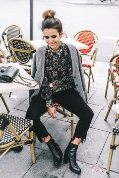 Multi coloured shirt with grey cardi; effortless monochrome style; French style