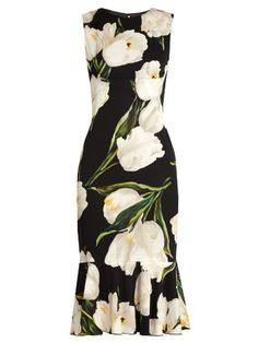 Tulip-print stretch-silk charmeuse dress