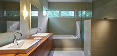 floating sink cabinet, half glass shower walls
