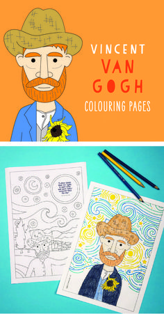 Vincent Van Gogh colouring pages for kids. An easy art history activity for kids... - Art Project For Kids, Easy Kids Art Projects, Easy Art For Kids, Kids Art Class, Art Lessons For Kids, Art Lessons Elementary, Kids Crafts, Arts And Crafts, Kids Art Activities