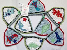 Crochet Dinotastic Dinosaur Bunting made to match the John Lewis Dinotastic Little Home range