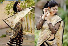 Black Benaras Floral Half Saree | Saree Blouse Patterns