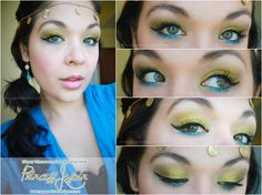 Princess Jasmin Inspired Makeup Sand Dollar - A creamy shimmery color, used as a high lighter on my brow bone. Turquoise - The perfect shimmery blue-green color for Jasmin. Golden Tiara - The perfect gold for a Princess themed look, of course! My Beauty, Beauty Makeup, Hair Makeup, Eyeshadow Makeup, Smokey Eye Makeup Tutorial, Eye Tutorial, Princess Jasmine Makeup, Princess Makeup, Princess Theme