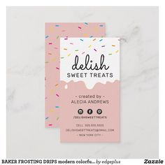 Shop BAKER FROSTING DRIPS modern colorful sprinkles Business Card created by edgeplus. Bakery Business, Business Logo Design, Corporate Design, Baking Business Cards, Modern Business Cards, Identity Branding, Corporate Identity, Visual Identity, Ice Cream Business