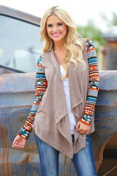Tan Cardigan with Aztec Print Multi Colored Sleeves | USTrendy
