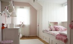 love this room. paint : farrow & ball: calamine No 230 Curtains from Ikea: Alvine Spets Bedding: Pip Studio Amsterdam (PIPSTUDIO.COM/EN/) Girl Bedroom Designs, Girls Bedroom, Bedroom Decor, White Bedroom, Bedroom Furniture, Bedroom Ideas, Bedroom Storage, Angled Ceiling Bedroom, Angled Ceilings