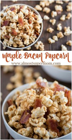 Sweet maple syrup and savory bacon combine in this heavenly popcorn recipe that is sure to make your taste buds shout for joy! via Almost Supermom Bacon Popcorn, Flavored Popcorn, Gourmet Popcorn, Popcorn Recipes, Bacon Recipes, Snack Recipes, Dessert Recipes, Candy Popcorn Recipe Corn Syrup, Homemade Popcorn