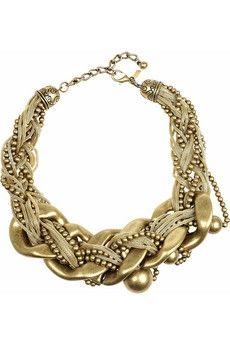 Kenneth Jay Lane|22-karat gold-plated oversized necklace|NET-A-PORTER.COM - StyleSays