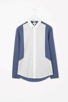 COS contrast panel shirt Off White Shirt Mens, Old Man Fashion, Gents Kurta, Mens Kurta Designs, Mens Designer Shirts, Formal Shirts For Men, African Men Fashion, Denim Top, Shirt Style