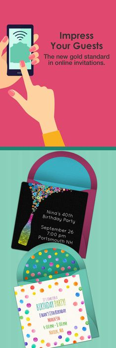 Paper invites are too formal, and emails are too casual. Get it just right with online invitations from Punchbowl. We've got everything you need for your birthday party.   http://www.punchbowl.com/online-invitations/category/47/?utm_source=Pinterest&utm_medium=27.1P